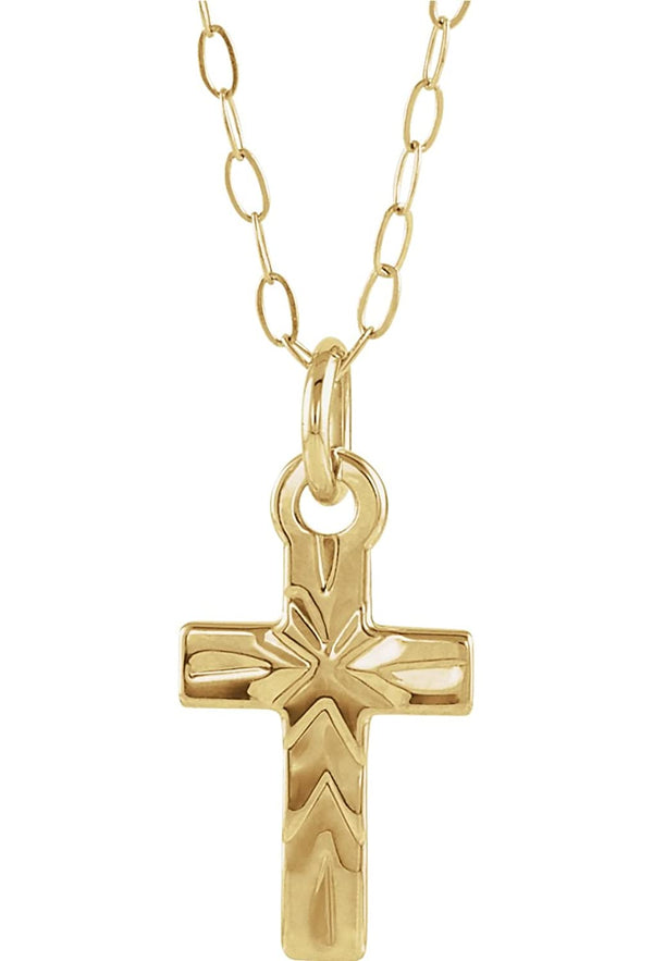 "Youth Cross 14k Yellow Gold Pendant Necklace, 15"" (9.50X6.50 MM)"