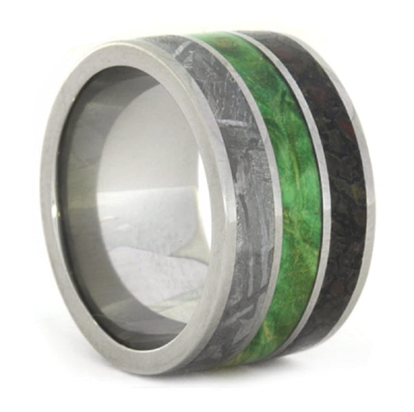 Green Box Elder Burl, Dinosaur Bone, Gibeon Meteorite 11mm Comfort-Fit Titanium Band