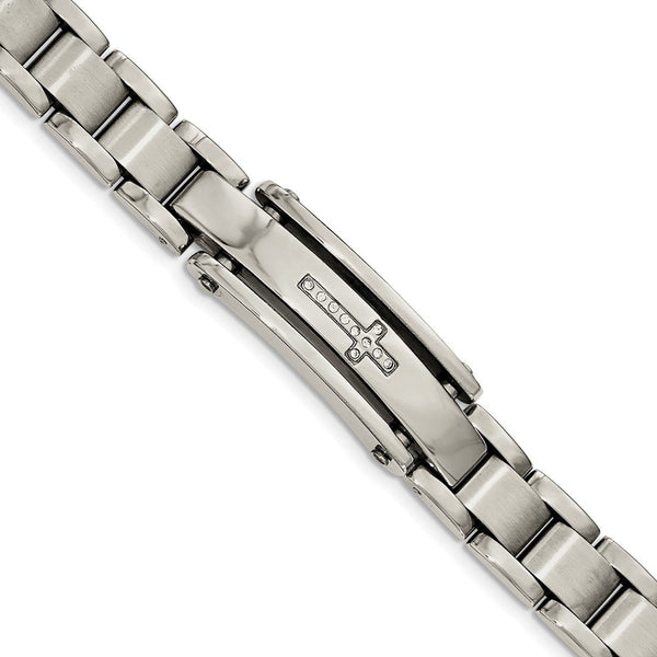 Men's Polished and Brushed Stainless Steel CZ Cross ID Bracelet, 9""