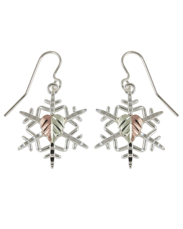 Snowflake Earrings, Sterling Silver, 12k Green and Rose Gold Black Hills Gold Motif
