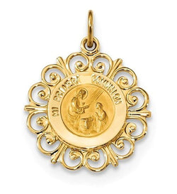 14k Yellow Gold Spanish 1st Communion Medal Pendant (20.1X18.1MM)