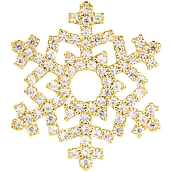 Diamond Snowflake 14k Yellow Gold Pendant