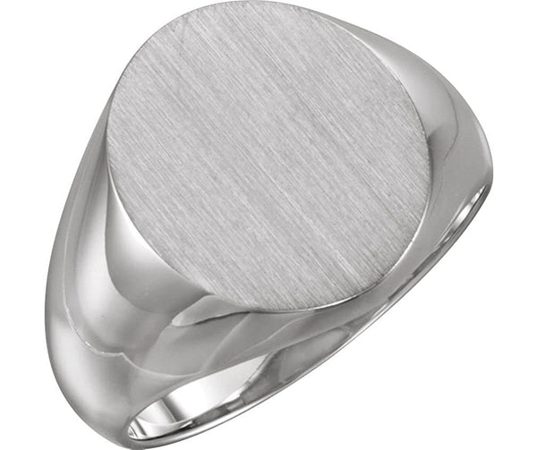 Platinum Men's Brushed Signet Ring (16x14mm) Size 8.75