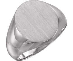 Men's Brushed Signet Ring, Rhodium-Plated 14k White Gold (16x14mm)