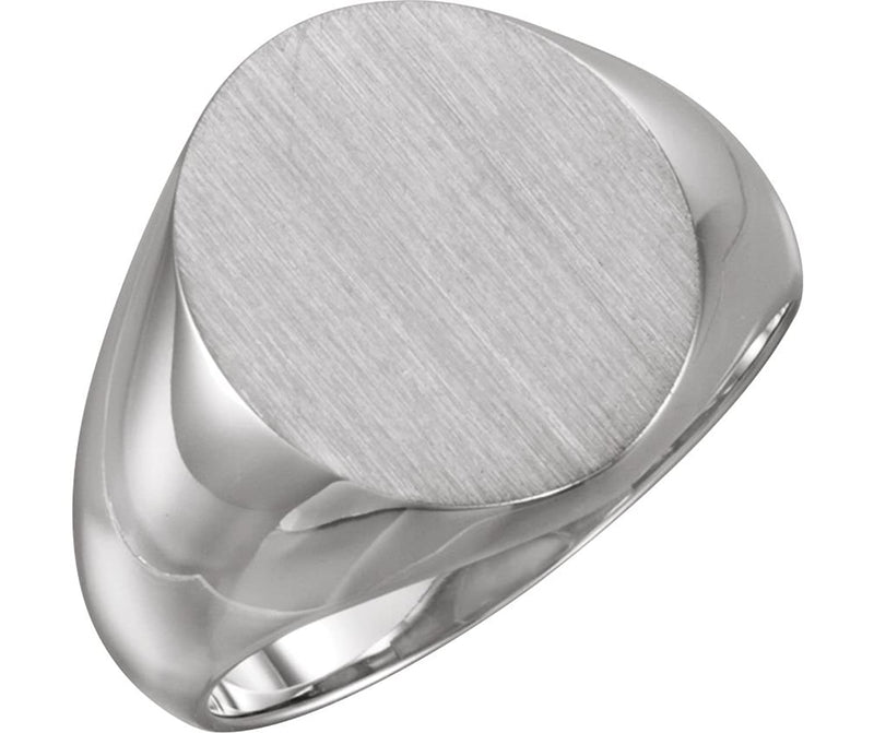 Men's Brushed Signet Ring, 18k X1 White Gold (18x16mm)