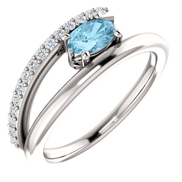 Platinum Aquamarine and Diamond Bypass Ring (.125 Ctw, G-H Color, S12-S13 Clarity), Size 6.5
