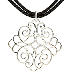"Diamond Filigree Scroll Pendant in Sterling Silver with Black Cord, 16-18"" (1/10 Cttw)"