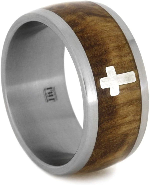 Sterling Silver Cross, Black Ash Burl Wood 10mm Comfort-Fit Matte Titanium Wedding Band