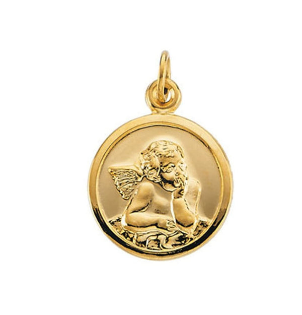 14k Yellow Gold Guardian Angel Medal (14.25 MM)