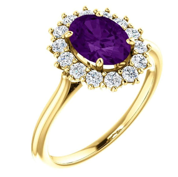 Genuine Oval Amethyst and Diamond Halo 14k Yellow Gold Ring (.35 Cttw, GH Color, SI1 Clarity)