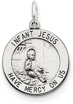 Sterling Silver Antiqued Infant Jesus Medal (17X11MM)
