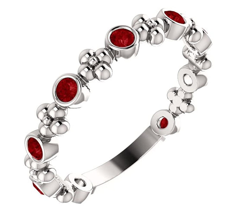 Genuine Ruby Beaded Ring, Rhodium-Plated 14k White Gold