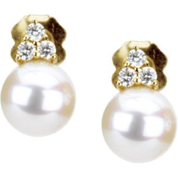 Freshwater Cultured White Pearl 1/8 Ctw Diamond Earrings, 14k Yellow Gold (7-7.5 MM)
