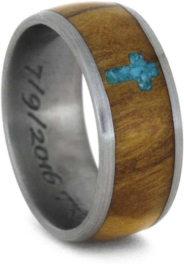 Inlaid Turquoise Cross, Olive Wood 8mm Comfort-Fit Matte Titanium Band, Size 15