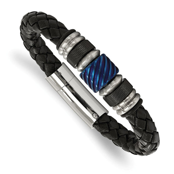 Men's Brushed Stainless Steel Black and Blue IP-Plated, Black Rubber and Leather Bracelet, 8.5""