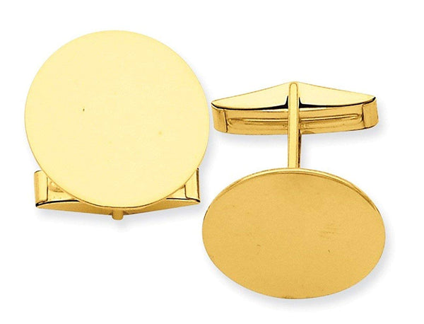 14k Yellow Gold Circular Round Cuff Links, 20MM