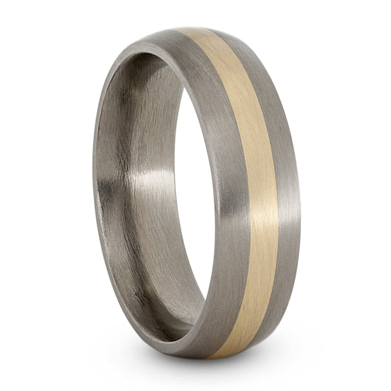 Satin Brushed Titanium, 14k Yellow Gold Inlay 5mm Comfort-Fit Dome Wedding Band