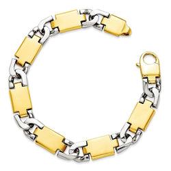 Men's Polished 14k Yellow and White Gold 11.5mm Link Bracelet, 9""