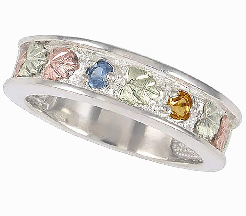 Aquamarine and Citrine Band, Sterling Silver, 12k Green and Rose Gold Black Hills Gold Motif