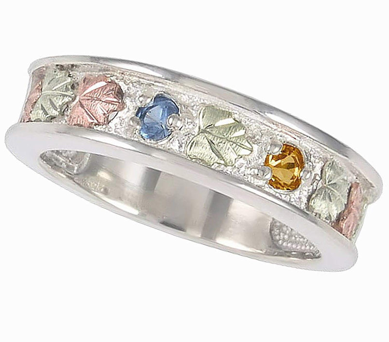 Blue Topaz and Citrine Band, Sterling Silver, 12k Green and Rose Gold Black Hills Gold Motif