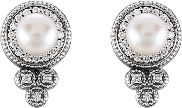 Platinum White Freshwater Cultured Pearl and Diamond Earrings (5-5.5MM) (0.2 Ctw, G-H Color, SI2-SI3 Clarity)