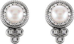 White Freshwater Cultured Pearl and Diamond Earrings, Rhodium-Plated 14k White Gold (5-5.5MM) (0.2 Ctw, G-H Color, I1 Clarity)