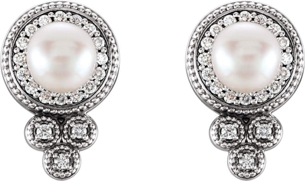 White Freshwater Cultured Pearl and Diamond Earrings, Sterling Silver (5-5.5MM) (0.2 Ctw, G-H Color, I1 Clarity)
