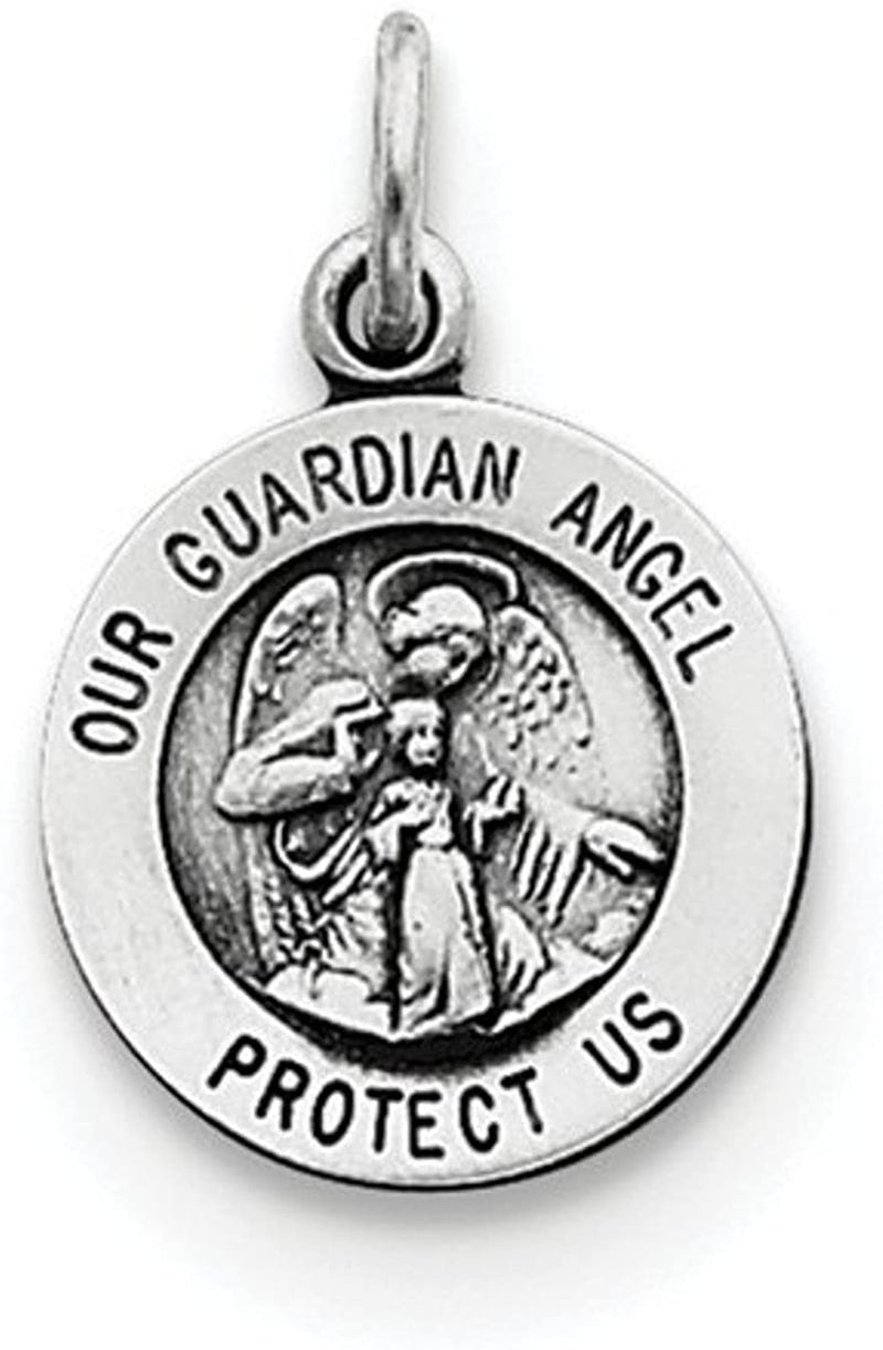 Sterling Silver Antiqued Guardian Angel Medal Pendant (17X12 MM)