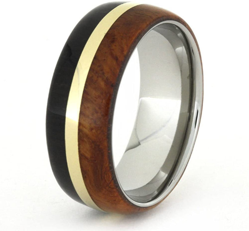 African Blackwood, Amboyna Wood, 14k Yellow Gold 8mm Comfort-Fit Titanium Ring