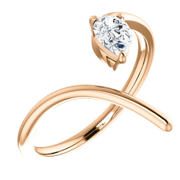 Pear Diamond Negative Space Ring, 14k Rose Gold, Size 6
