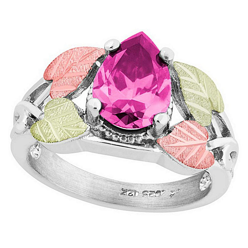 Pear Pink CZ Ring, Sterling Silver, 12k Green and Rose Gold Black Hills Gold Motif, Size 7