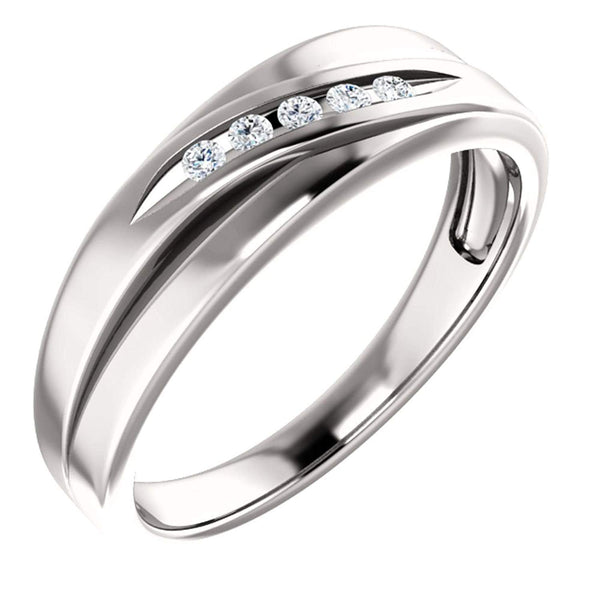 Men's Platinum 7-Stone Diamond Wedding Band (.10 Ctw, Color G-H, SI2-SI3 Clarity) Size 10