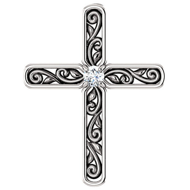 Platinum Diamond Solitaire Cross Pendant (.03 Ct, G-H Color, SI2-SI3 Clarity)