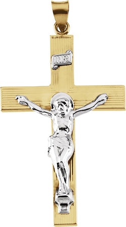 Two-Tone INRI Crucifix 14k Yellow and White Gold Pendant (39X26MM)