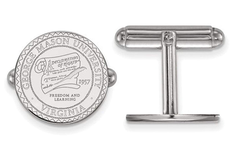 Rhodium-Plated Sterling Silver, George Mason University, Crest Cuff Links, 15MM