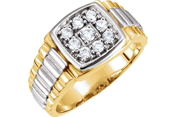 Men's 9-Stone Diamonds 14k Yellow and White Gold Ring, 11.5M (.38 Ctw, G-H, I1)