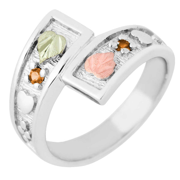 November Birthstone Created Gold Topaz Bypass Ring, Sterling Silver, 12k Green and Rose Gold Black Hills Silver Motif