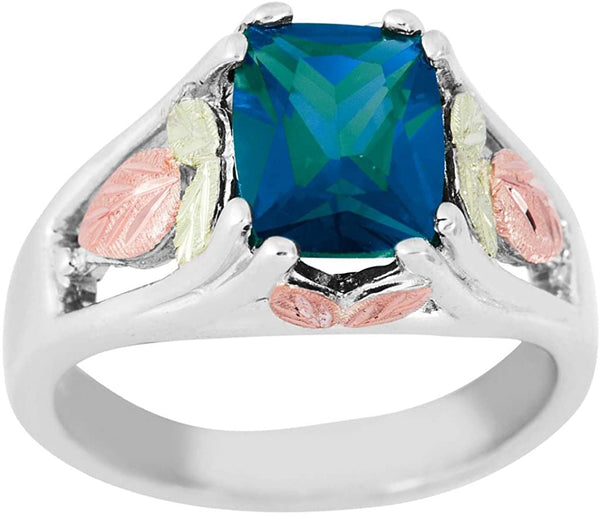 June Birthstone Created Alexandrite Ring, Sterling Silver, 12k Green and Rose Gold Black Hills Silver Motif, Size 5