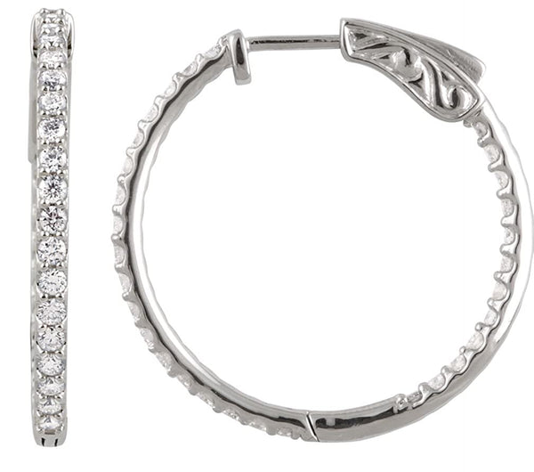 Platinum Hoop Earrings, Inside-Outside Diamond (1 Ctw, Color H+, Clarity SI)