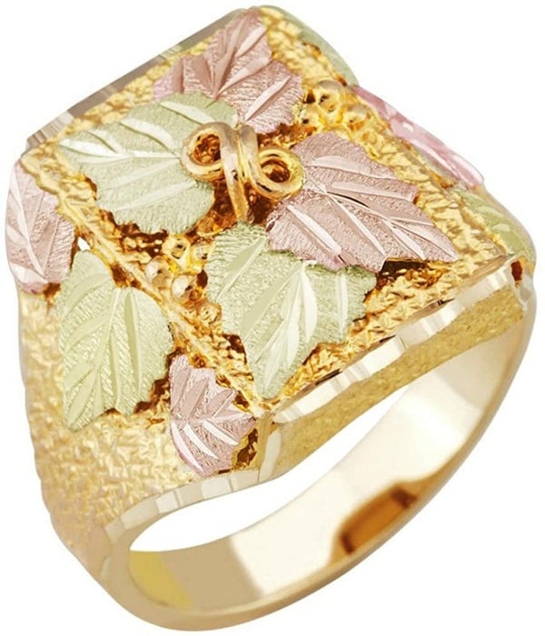 Men's Square Multiple Leaf Ring, 10k Yellow Gold, 12k Green and Rose Gold Black Hills Gold Motif, Size 11.75