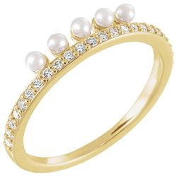 White Freshwater Cultured Pearl, Diamond Stackable Ring, 14k Yellow Gold (2mm)(.2Ctw, Color G-H, Clarity I1)