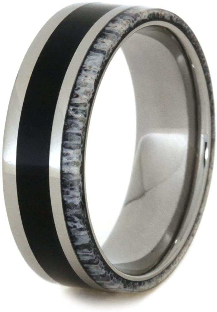 Ironwood, Naturally Shed Deer Antler 7mm Comfort-Fit Titanium Wedding Band, Size 11.5