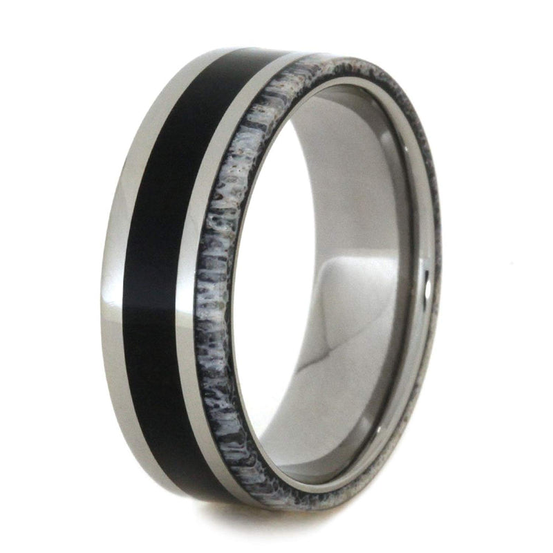 Ironwood, Naturally Shed Deer Antler 7mm Comfort-Fit Titanium Wedding Band