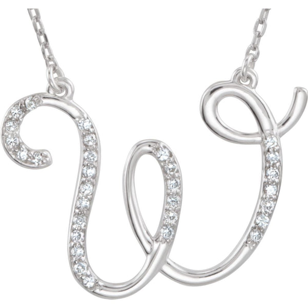 "Diamond Initial 'W' Sterling Silver Pendant Necklace, 16.00"" (.16 Cttw, GH Color, I1 Clarity)"
