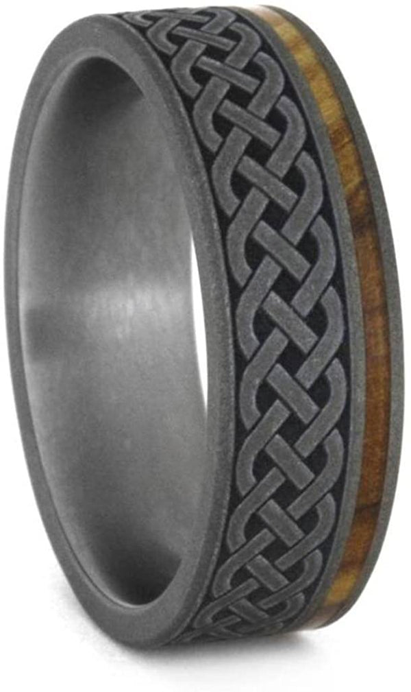 Oak and Olive Wood, Celtic Knot Engraving Comfort-Fit Sandblasted Titanium Couples Wedding Band Set Size, M15.5-F6.5