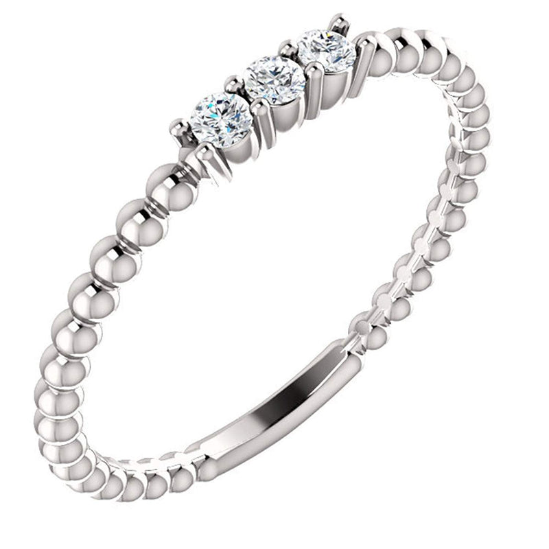 Diamond Beaded Ring, Rhodium-Plated 14k White Gold, Size 6