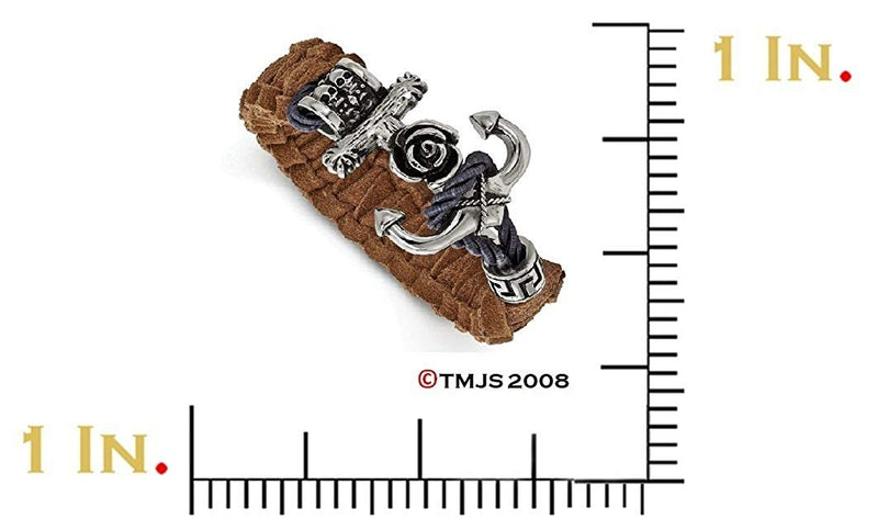 Men's Stainless Steel Polished Antiqued Brown Leather Anchor Toggle Bracelet 8.5""