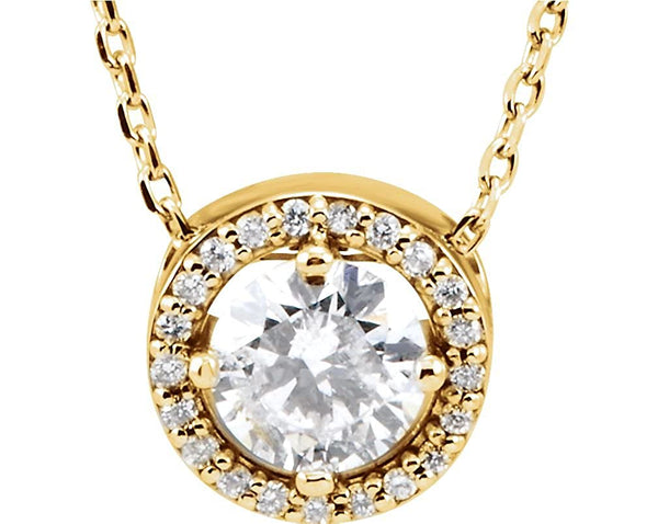 "22-Stone Diamond Halo 14k Yellow Gold Pendant Necklace, 16"" (.50 Cttw)"