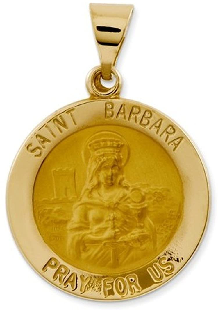 14k Yellow Gold St. Barbara Medal Pendant (21X19MM)