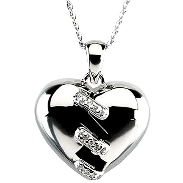 Broken Heart Pendant Rhodium Plated Sterling Silver Necklace, 18""